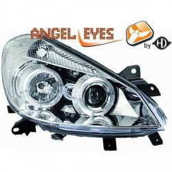 Paire de phares Angel Eyes Chrome pour Renault Clio III