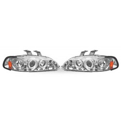 Paire de phares Angel Eyes Chrome pour Honda Civic de 1992 à  1995 (2/3 portes)