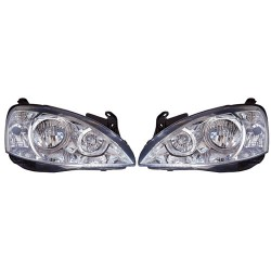 Paire de phares Angel Eyes Chrome pour Opel Corsa C de 2000 à  2002 (3/5 portes)