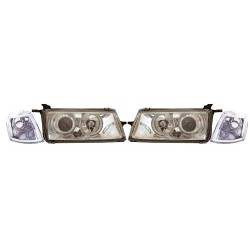 Paire de phares Angel Eyes Chrome pour Opel Vectra A de 1988 à  1995