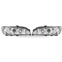 Paire de phares Angel Eyes Chrome pour Peugeot 306 de 1997 à  1999