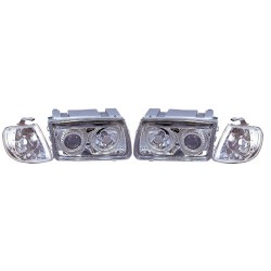 Paire de phares Angel Eyes Chrome pour Volkswagen Polo de 1995 à  1998