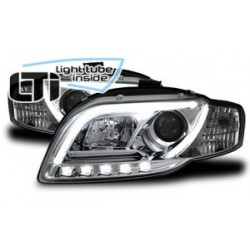 Paire de phares chrome LTI Light Tube Inside Audi A4 (B7) de 2004 à  2008
